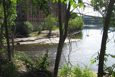 The confluence of the Spicket and Merrimack rivers in Lawrence.