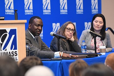 Criminal justice students listen intently during a panel on the case of Kalief Browder at UMass Lowell