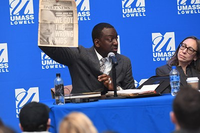 Yusef Salaam, who was wrongly convicted in the Central Park Five case, speaks at a panel on plea bargains at UMass Lowell