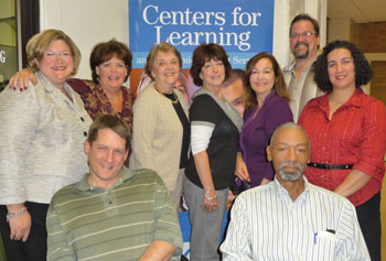 Centers for Learning staffers, from left, front, David Driscoll and David McSwain; rear,  Kristen Rhyner, Sheila Riley-Callahan, Susan Lemire, Judy Frank, Suzanne Gamache, Wadia Khabazeh and Jim Lyman.