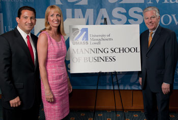 "In May, Robert and Donna Manning, both UMass Lowell alumni, made a multimillion-dollar commitment that will create more than $5 million in endowment to support ongoing initiatives for the new ""Manning School."""
