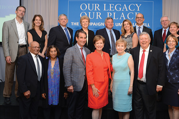 Chancellor Jacquie Moloney, front row, center, honored new members of UML's Lifetime Giving Societies at the Sept. 27 Celebration of Philanthropy.