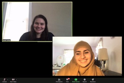 Sarah Curley and Khadija Mir talk on Zoom
