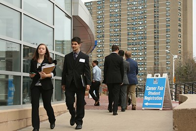 Students outside the Spring Career Fair at Tsongas