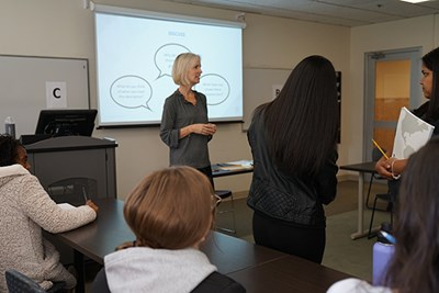 Anne Apigian teaches a one-credit career exploration class at UMass Lowell