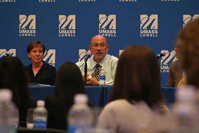 Assoc. Vice Chancellor for Student Affairs Larry Siegel addresses a question