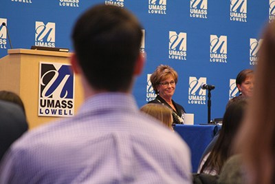 Chancellor Jacquie Moloney listens to a question