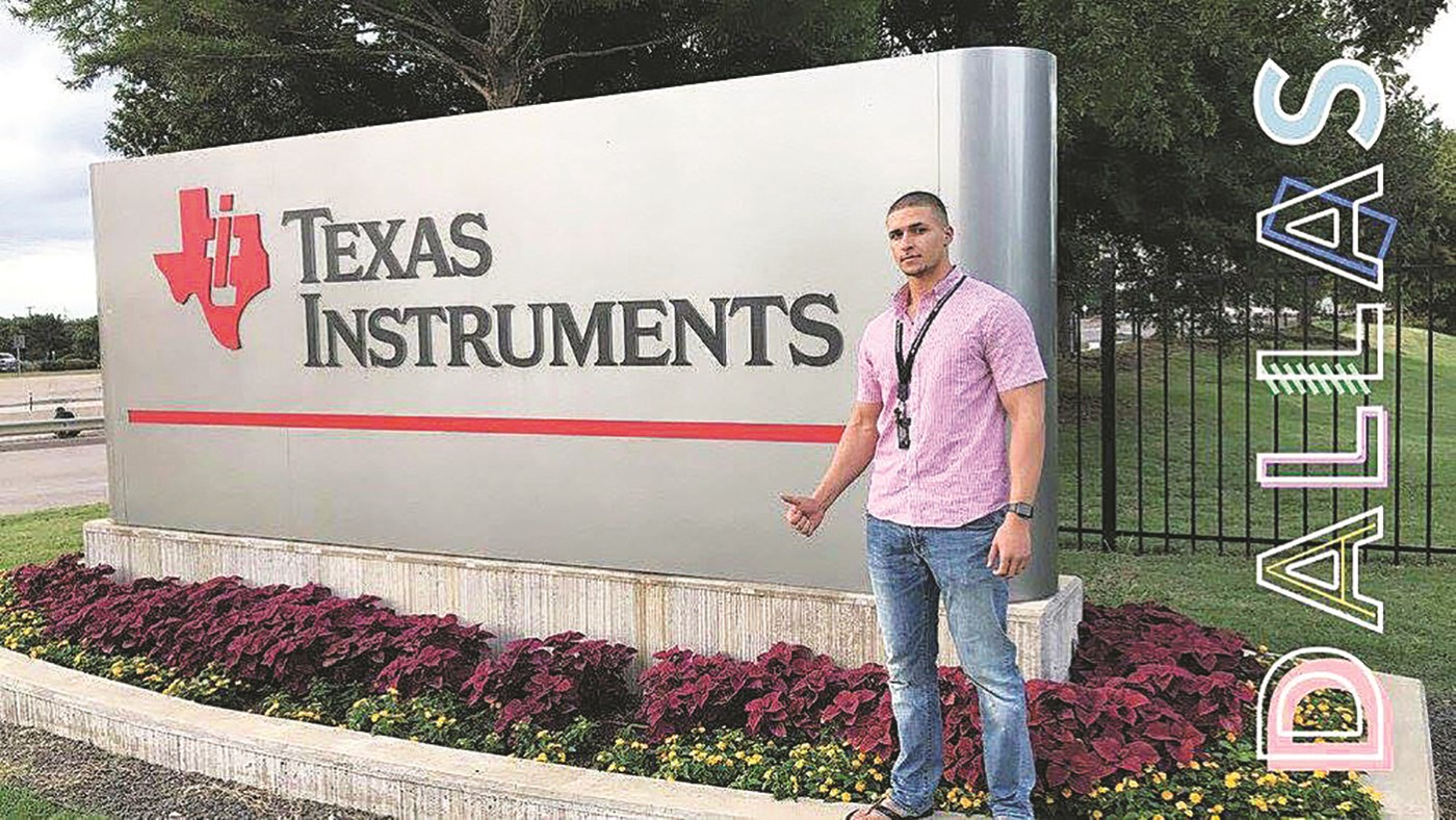 UMass Lowell senior electrical engineering major Christian Taveras, failure analysis engineer intern at Texas Instruments in Dallas