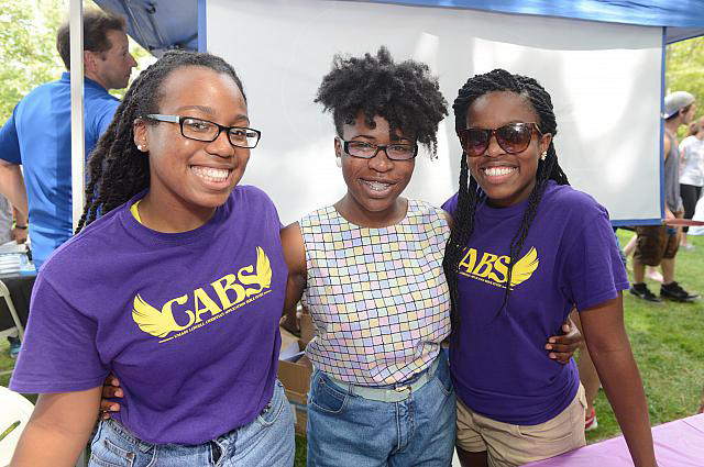 3 girls from the Christian Analytical Bible Study (CABS) pose for a photo.