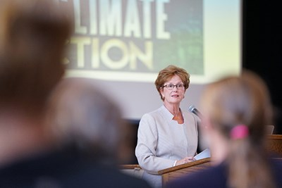 Chancellor Jacquie Moloney speaks at the Climate Change Teach-In