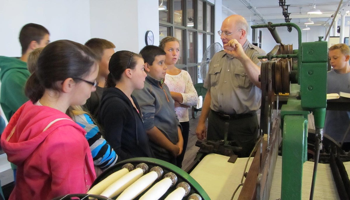 National Park ranger talks to elementary school students