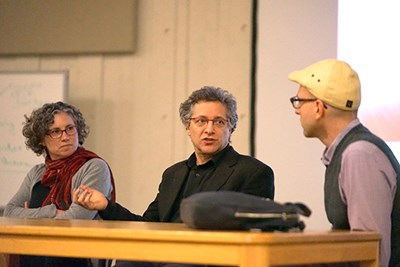 Juliette Rooney-Varga, Peter Galison and Misha Rabinovich during the panel discussion