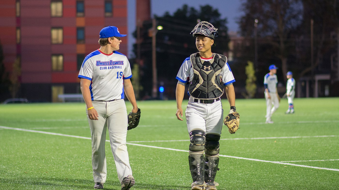 Club Baseball photo of catcher and pitcher
