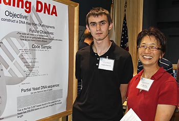 Computer science sophomore and summer co-op scholar Stephen Demeule, left, with Vice Provost for Research Julie Chen.