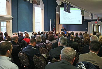 About 100 people packed Alumni Hall on Nov. 27 for the meeting of the Middlesex 3 Coalition.