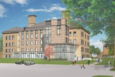 Architect's rendering of Coburn Hall addition, viewed from Wilder Street