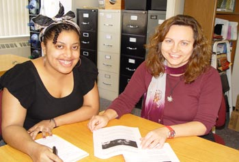 Senior Sociology major Danielle Cole, left, is working on research directed by Psychology Asst. Prof. Jana Sladkova about the effects of deportation on immigrant children.