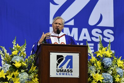 Jon Meacham speaking at 2018 UMass Lowell Commencement