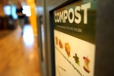 A composting bin in Southwick Food Court