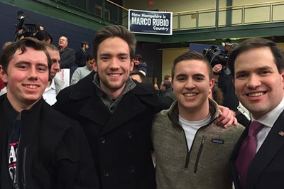 "Tyler Farley, left, and members of the ""Electoral Politics"" class met Marco Rubio at a town hall in Salem, N.H."