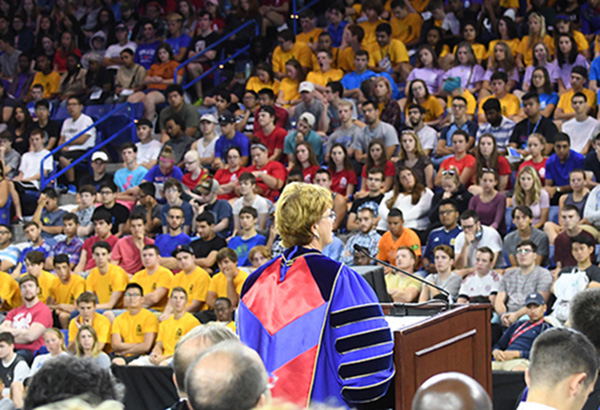 Chancellor Jacquie Moloney speaks to UMass Lowell's 2,900 new students at Convocation 2016.