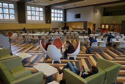 Students study in the dining area