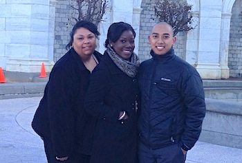 Community health students Melissa Franklin, Jenneh Kaikai and Peter Saing visited legislators during an advocacy training summit in Washington, D.C.