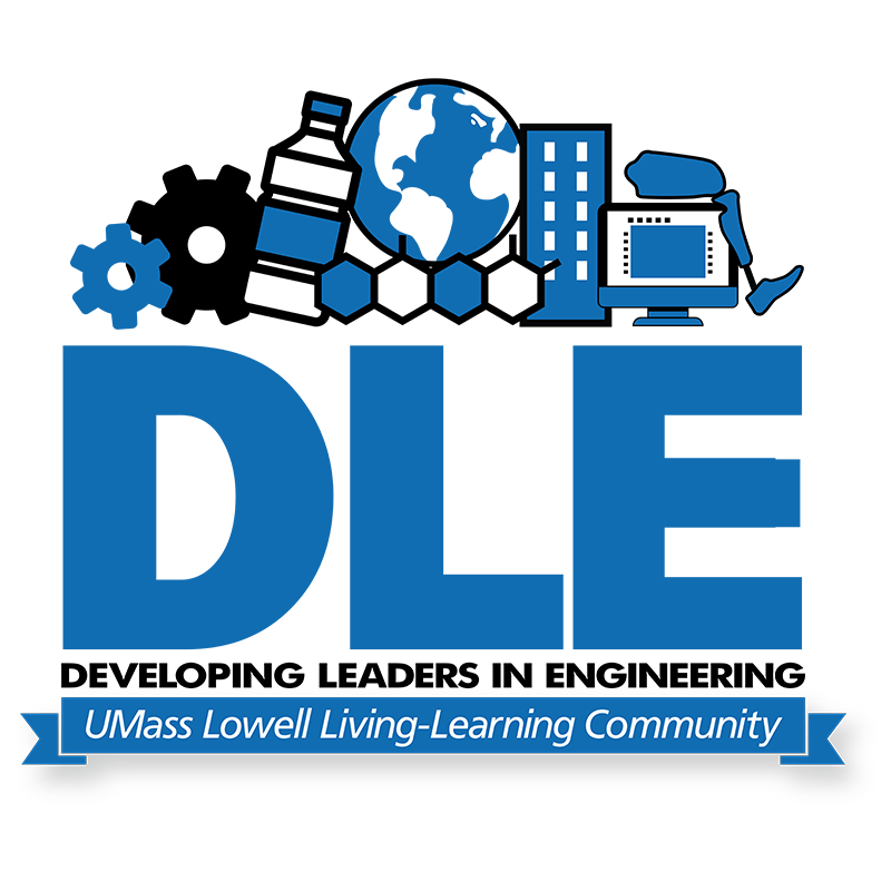 Developing Leaders in Engineering (DLE) LLC logo. The Developing Leaders in Engineering Living-Learning Community is engineered to provide students with a hands-on, real-world educational living and learning experience that focuses on taking an inside look into exploring career paths of aspiring engineers. Through participation in this LLC, students are afforded access to UMass Lowell Alumni and local businesses, as well as on-campus resources to help identify potential career pathways.