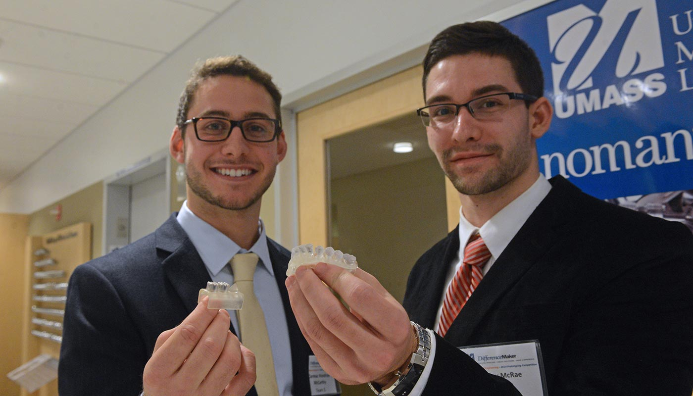 Casey McRae and Cormac Hondros-McCarthy present Prototooth at the DifferenceMaker 2014 Francis College of Engineering Prototyping Competition.
