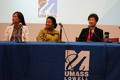 Katrina Dizon Mariategue of SEARAC, Channapha Khamvongsa of Legacies of War and Psychology Prof. Khanh T. Dinh at the SEAAS Conference 2017 at UMass Lowell