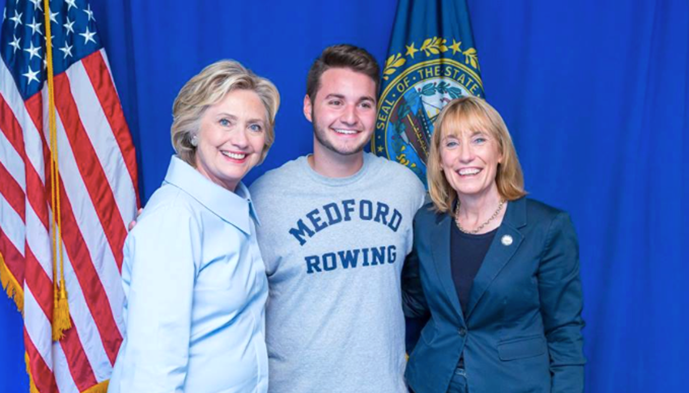 David Todisco, center, with Hilary Clinton on the left and Senator Maggie Hassan of New Hampshire on the right