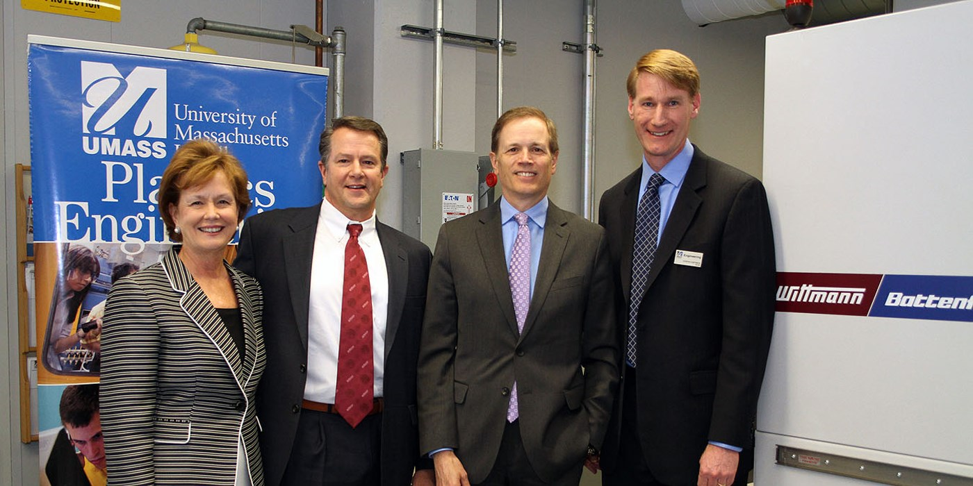 Jacquie Moloney, Chancellor of UMass Lowell; James Peyser, Secretary of Education for the Commonwealth of Massachusetts; David Preusse, President of Wittmann Battenfeld Inc.; and Joseph Hartman, Dean of the Francis College of Engineering at UMass Lowell