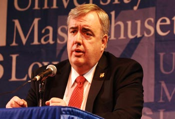 "Boston Police Commissioner Ed Davis spoke at the UMass Lowell Day Without Violence forum, a panel discussion on ""Guns and Violence."""