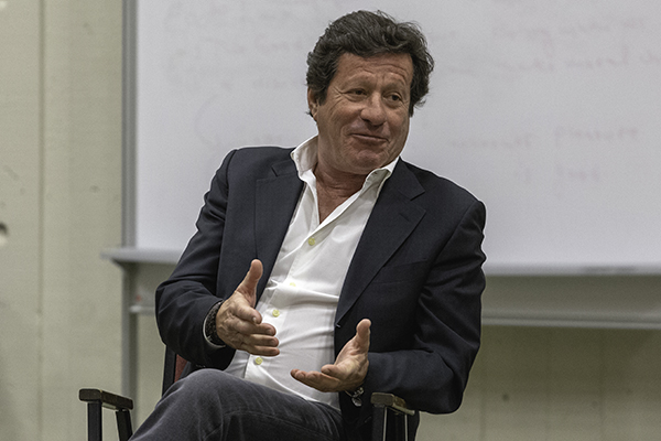Portuguese actor and Hollywood star Joaquim de Almeida speaks at a master class for students in Theatre Arts and Digital Media.