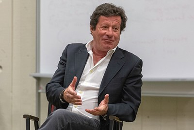 Actor Joaquim de Almeida answers UMass Lowell student questions in conversation with Assoc. Prof. Shelley Barish and Visiting Lecturer Patricia Ferreira.