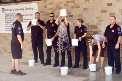 Members of the UMass Lowell Police Department do the Ice Bucket Challenge