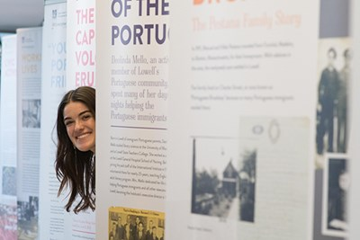 Kelly Freitas '16 designed the Portuguese immigration exhibit