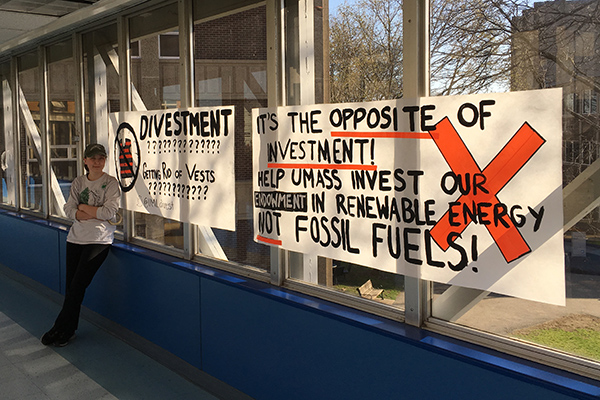 Led by senior Sabrina Pedersen, the Climate Change Coalition hung posters and banners around campus this spring educating students about the need to divest from fossil fuel holdings.