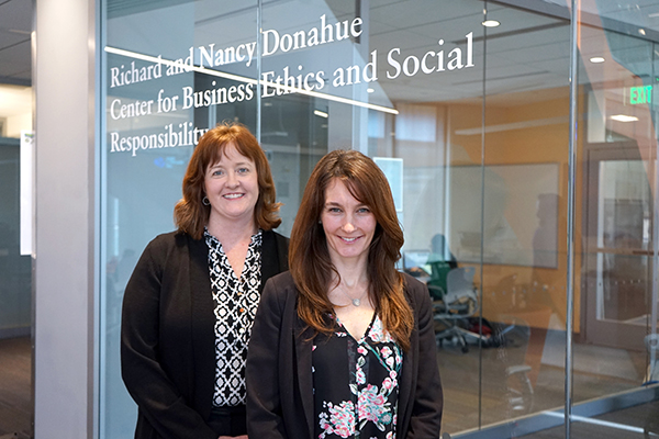 Donahue Center for Business Ethics & Social Responsibility Co-Directors Elissa Magnant, left, and Erica Steckler support ethics-related education and research across campus.