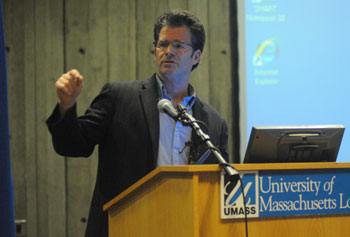 "Prof. Andre Dubus III discussed his memoir ""Townie"" with UMass Lowell students as part of the Common Text program."