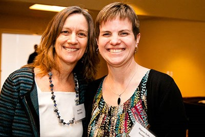 Sociology Chairwoman Mignon Duffy, right, with Psychology Prof. Meg Bond, director of the Center for Women and Work at UMass Lowell