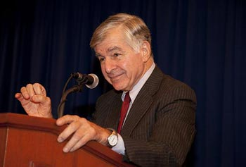 Part of a panel, former Gov. Michael Dukakis spoke about the influx of money and effect of the electoral college in presidential elections.