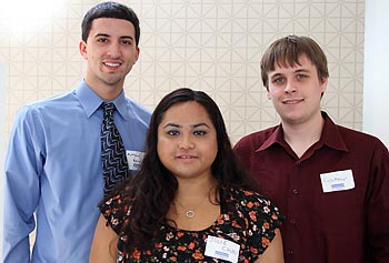 From left, electrical engineering seniors Matthew Berardi, Julie Chau and J. Cory Miniter have designed an ultraviolet LED water-purification system for use by people living in rural India.