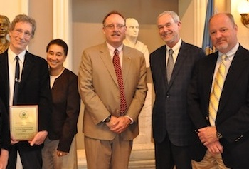 Prof. Craig Slatin, TNEC Advisory Board Member Iris Davis, EPA New England Regional Administrator Curt Spaulding, TNEC Project Director Paul Morse and TNEC Training Manager David Coffey.