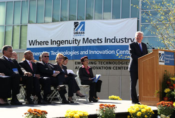 UMass Lowell opened its $80 million Emerging Technologies and Innovation Center on Thursday, Oct. 11, in a ceremony that included Gov. Deval Patrick, UMass Lowell Chancellor Marty Meehan, members of the Statehouse delegation, students, faculty, staff, alumni and industry leaders. Meghan Moore photo