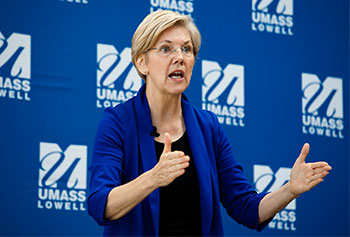 "U.S. Sen. Elizabeth Warren discussed her efforts to reform student loans in an appearance at University Crossing to promote her new book, ""A Fighting Chance."""