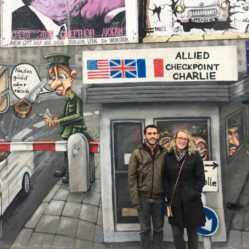 UMass Lowell alumnus at the East Side Gallery in Berlin, Germany