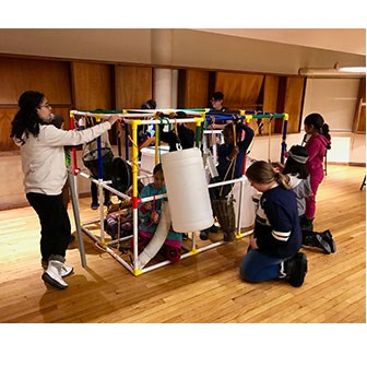 Children creating a EcoSonic Playground through a UMass Lowell Music Department project