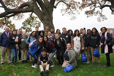Students studying education at Lawrence High School and their teachers visited campus to learn about teaching careers