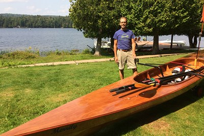 UML Education Prof. James Nehring with Merrily, a boat he built himself